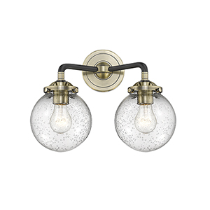 Baldwin Black Antique Brass Two-Light Wall Sconce with Seedy Globe Glass