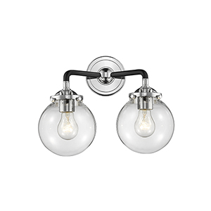 Baldwin Black Polished Nickel Two-Light Wall Sconce with Clear Globe Glass