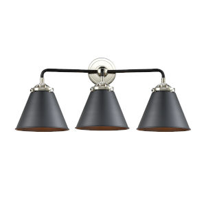 Nouveau Matte Black Polished Nickel Three-Light Bath Vanity
