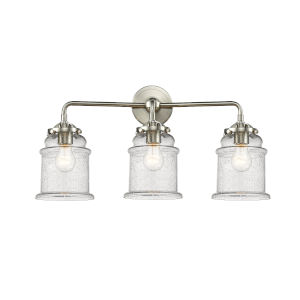 Nouveau Brushed Satin Nickel 24-Inch Three-Light Bath Vanity with Seedy Glass Shade