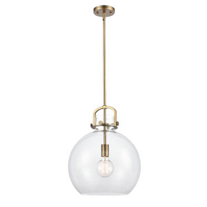 Newton Brushed Brass LED Pendant with Clear Sphere Glass