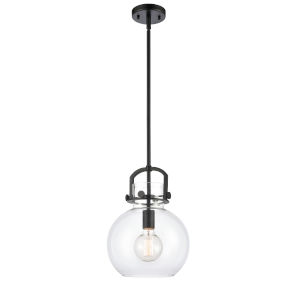 Newton Matte Black One-Light Pendant with Clear Sphere Glass