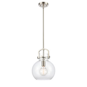 Newton Brushed Satin Nickel 13-Inch One-Light Pendant with Clear Sphere Glass