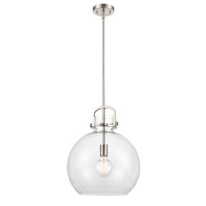 Newton Brushed Satin Nickel One-Light Pendant with Clear Sphere Glass
