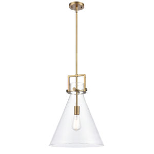 Newton Brushed Brass LED Pendant with Clear Cone Glass