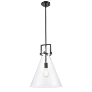 Newton Matte Black 17-Inch One-Light Pendant with Clear Cone Glass