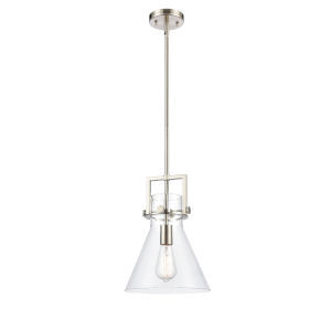 Newton Brushed Satin Nickel 14-Inch LED Pendant with Clear Cone Glass