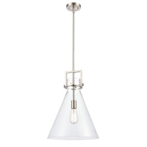 Newton Brushed Satin Nickel One-Light Pendant with Clear Cone Glass