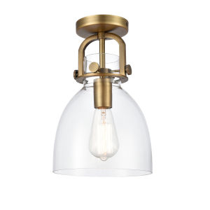 Newton Brushed Brass LED Semi Flush Mount with Clear Dome Glass
