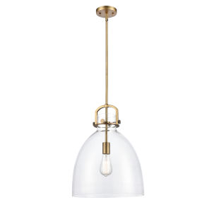 Newton Brushed Brass One-Light Pendant with Clear Dome Glass