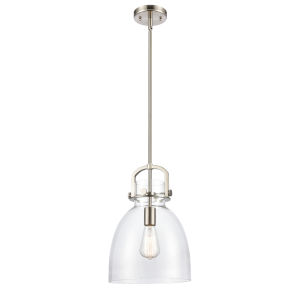 Newton Brushed Satin Nickel 15-Inch One-Light Pendant with Clear Dome Glass