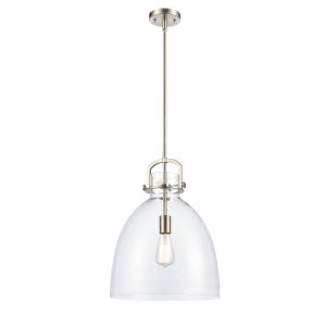 Newton Brushed Satin Nickel LED Pendant with Clear Dome Glass
