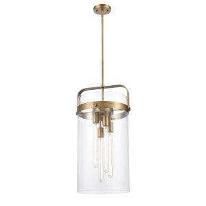 Pilaster Brushed Brass Four-Light Pendant