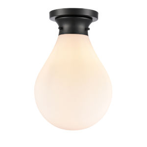 Genesis Matte Black 10-Inch LED Flush Mount with White Glass Shade