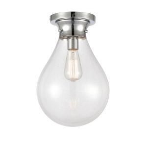 Genesis Polished Chrome 10-Inch One-Light Flush Mount with Clear Glass Shade