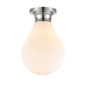 Genesis Polished Chrome 10-Inch One-Light Flush Mount with White Glass Shade