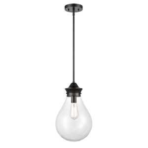 Genesis Matte Black 10-Inch One-Light Pendant with Clear Glass Shade