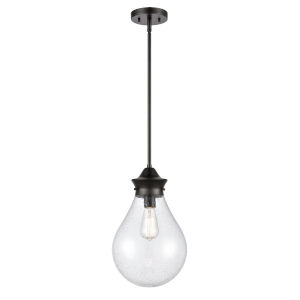 Genesis Matte Black 10-Inch One-Light Pendant with Seedy Glass Shade