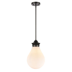 Genesis Matte Black 10-Inch LED Pendant with White Glass Shade