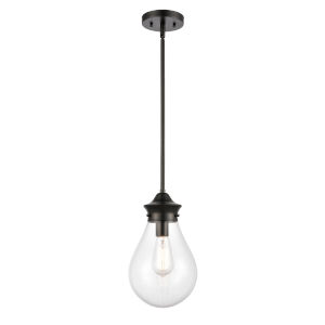 Genesis Matte Black Eight-Inch LED Mini Pendant with Clear Glass Shade