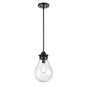 Genesis Matte Black Eight-Inch LED Mini Pendant with Seedy Glass Shade