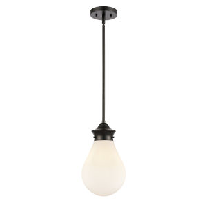Genesis Matte Black Eight-Inch LED Mini Pendant with White Glass Shade