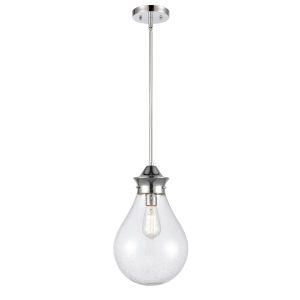 Genesis Polished Chrome 10-Inch LED Pendant with Seedy Glass Shade