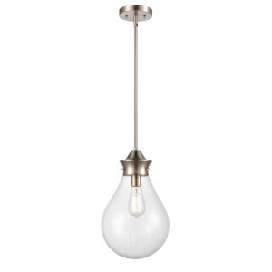 Genesis Satin Nickel 10-Inch One-Light Pendant with Clear Glass Shade