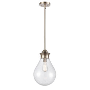 Genesis Satin Nickel 10-Inch LED Pendant with Seedy Glass Shade