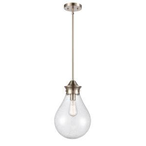 Genesis Satin Nickel 10-Inch One-Light Pendant with Seedy Glass Shade
