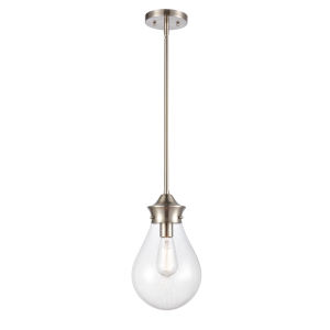 Genesis Satin Nickel Eight-Inch LED Mini Pendant with Clear Glass Shade