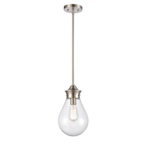 Genesis Satin Nickel Eight-Inch One-Light Mini Pendant with Seedy Glass Shade