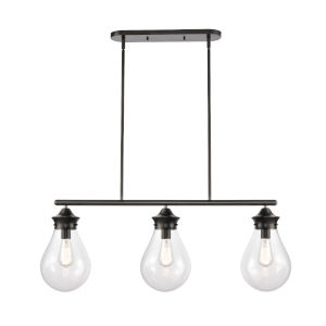 Genesis Matte Black 39-Inch Three-Light LED Island Chandelier with Clear Glass Shade