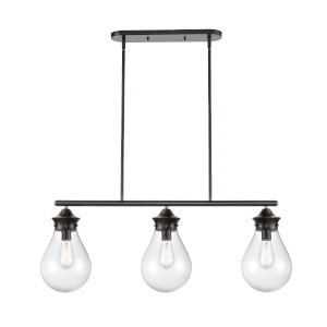 Genesis Matte Black 39-Inch Three-Light Island Chandelier with Seedy Glass Shade