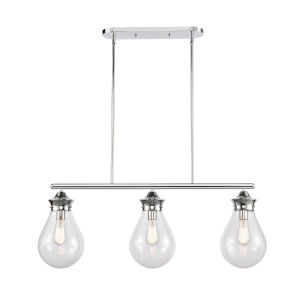 Genesis Polished Chrome 39-Inch Three-Light LED Island Chandelier with Clear Glass Shade