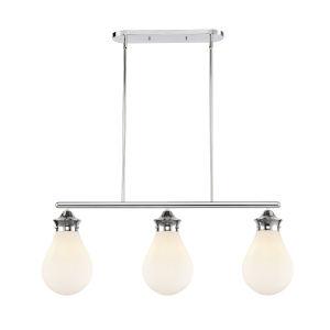 Genesis Polished Chrome 39-Inch Three-Light LED Island Chandelier with White Glass Shade