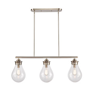 Genesis Satin Nickel 39-Inch Three-Light LED Island Chandelier with Clear Glass Shade