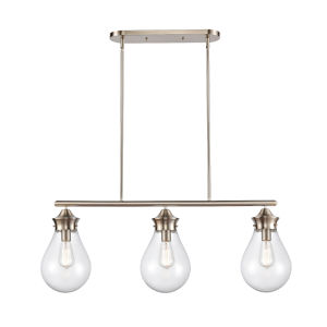 Genesis Satin Nickel 39-Inch Three-Light LED Island Chandelier with Seedy Glass Shade