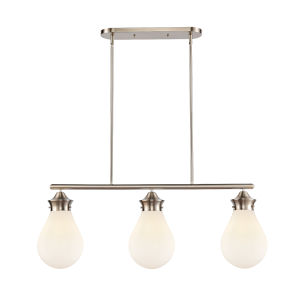 Genesis Satin Nickel 39-Inch Three-Light Island Chandelier with White Glass Shade