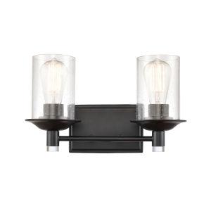 Manhattan Matte Black Two-Light LED Bath Vanity