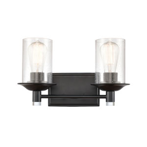Manhattan Matte Black Two-Light Bath Vanity