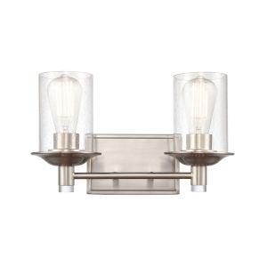 Manhattan Satin Nickel Two-Light Bath Vanity