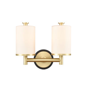 Marlowe Matte Black Satin Brass Two-Light Bath Vanity