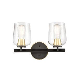 Remy Matte Black Satin Brass Two-Light LED Bath Vanity