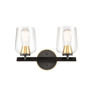 Remy Matte Black Satin Gold 15-Inch Two-Light Bath Vanity with Clear Glass Shade