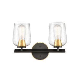 Remy Matte Black Satin Gold 15-Inch Two-Light Bath Vanity with Seedy Glass Shade