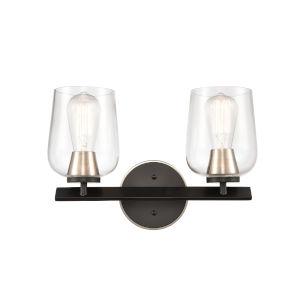 Remy Matte Black Satin Nickel Two-Light LED Bath Vanity