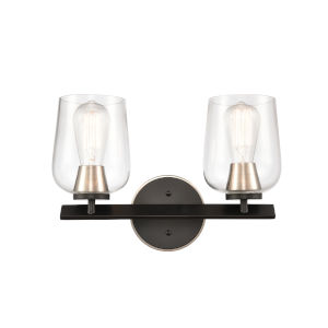 Remy Matte Black Satin Nickel Two-Light Bath Vanity