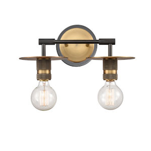 Aurora Black Brushed Brass Two-Light Bath Vanity