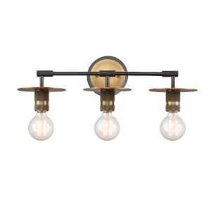 Aurora Black Brushed Brass Three-Light Bath Vanity